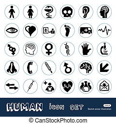 Medical and human web icons set Hand drawn vector isolated...