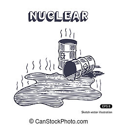 Metal barrels with nuclear waste. Hand drawn vector isolated...