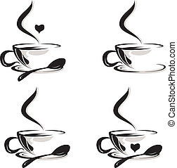 coffee cups set - vector illustration of coffee cups set