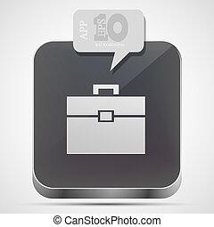 Vector briefcase app icon with gray bubble speech. Eps10