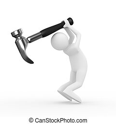 Man swings arm hammer on white background. Isolated 3D image