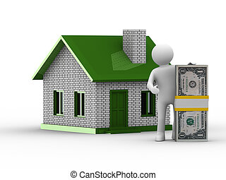 Real estate sale. Isolated 3D image on white