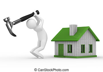 House building on white background Isolated 3D image