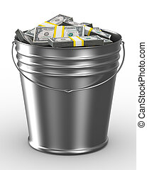 Bucket with money on white background Isolated 3D image