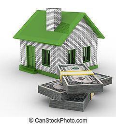 Small house and cash on white background Isolated 3D image