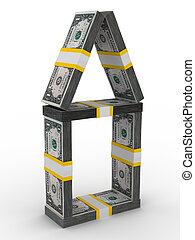 house from money on white background Isolated 3D image