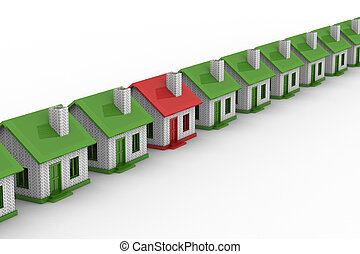 House choice. Isolated 3D image on white background