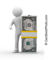 man holds money on white background Isolated 3D image