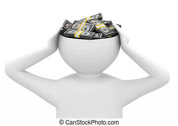 businessman thinks of money. Isolated 3D image