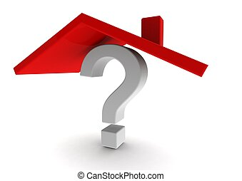 Question mark under red roof - Rendered artwork with white...