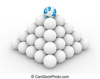 Pyramid from spheres on white background. 3D image