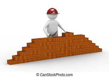 builder on white background Isolated 3D image