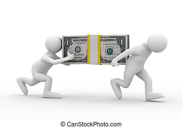 two men carry dollars. Isolated 3D image