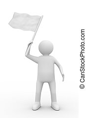 man waves flag on white background Isolated 3D image