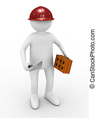 builder on white background. Isolated 3D image