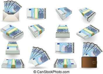 full set of twenty euros banknotes - Detailed animation of a...