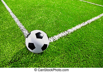 soccer - Corner of soccer field with the ball, selective...