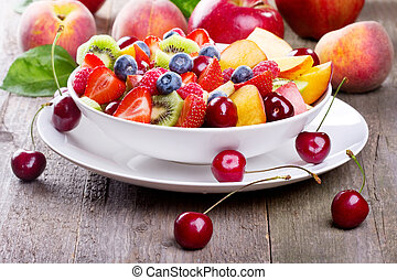 salad with fruits and berries - salad with fresh fruits and...