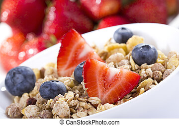 Breakfast with cereals - Breakfast with cereals and fresh...