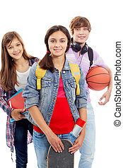 Teens isolated - Portrait of three teenage friends isolated...