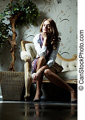 Modern lux - Portrait of a gorgeous young woman in a luxury...