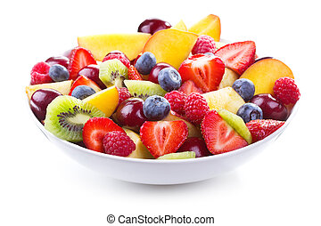 salad with fresh fruits and berries on wihite background