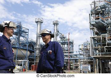 aceite, trabajadores, dentro, químico, planta