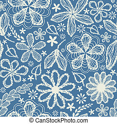 Seamless shabby floral hand-drawn curly pattern -model for...