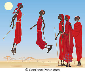 masai dancing - an illustration of a group of dancing masai...