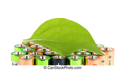 Green plant sheet and battery, ecology concept