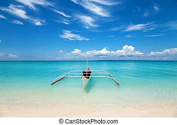 branca, bote, tropicais, praia
