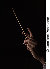 Director - Hands of a conductor, on a black background