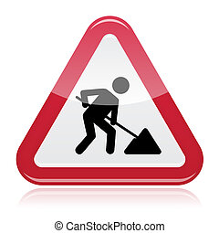 Road works sign, under construction - Red glossy road sign...