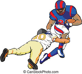 american football - carrying the ball over the opponents...