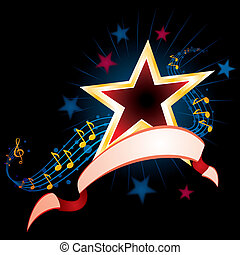 Music background - Star with music notes and ribbon on black