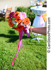 wedding flowers - beautiful wedding flowers in a decorated...
