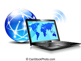 Laptop internet surfing - Browsing the world wide web from a...