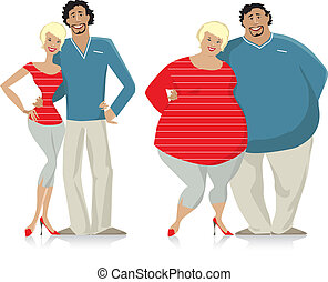 Dieting couple from fat to thin