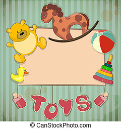 Vintage Design Toys Frame - Old Toys and place for text -...