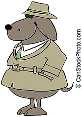 Dog private investigator - A brown dog wearing a hat and tan...