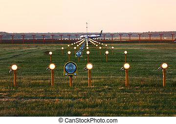 Landing lights in airport