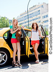 Two women in a taxi - Photo of two young and beautiful women...