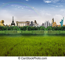 World landmarks - Grassland with lagoon and palm trees with...