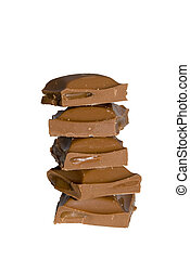 Chocolate with carmel stacked on top of each other on a...
