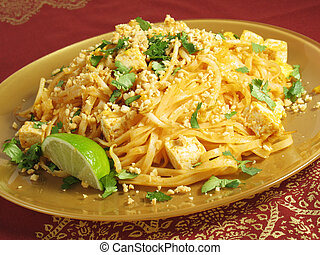 Pad Thai and Tofu - Pad Thai with tofu, a popular Thai...