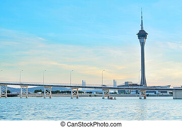 Macau cityscape of bridge and skyscraper Macao, Asia. -...