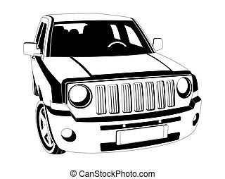 Off-road car - The black and white image of SUV car on white...