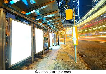 traffic city and Blank billboard on sidewalk