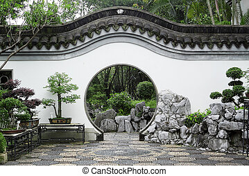 Circle entrance of Chinese garden in Hong Kong