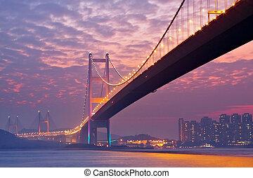 bridge in sunset , under view